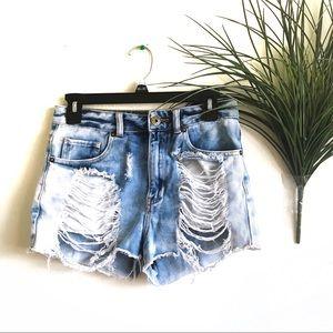 Bullhead Denim Co. Acid Wash Distressed Shorts